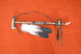 Rawhide wrapped beaded Peace pipe